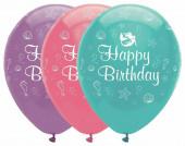 6 Balões Happy Birthday Sereia Sortidos