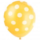 6 Balões látex Amarelo bolinhas