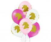 6 Balões Latex Cabeça Unicórnio Sortido