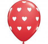 6 Balões Latex Corações Vermelhos