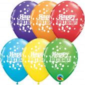 6 Balões Latex Happy Birthday Coloridos