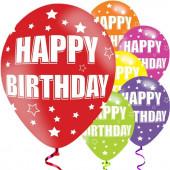 6 Balões Latex Happy Birthday Estrelinhas