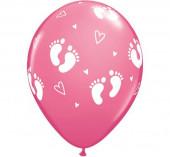 6 Balões Latex Pezinhos e Corações Rosa