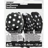 6 Balões Látex Preto Bolinhas Brancas