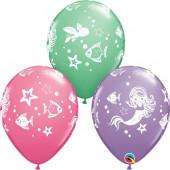 6 Balões Latex Sereia Sortidos