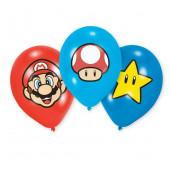 6 Balões Latex Super Mário