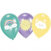 6 Balões Rainbow & Cloud