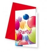 6 convites festa Balloon Party