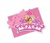 6 convites festa Coroa Princesas Disney