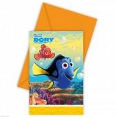6 convites festa Dory