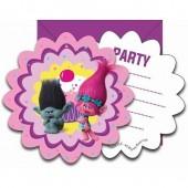 6 convites festa Trolls