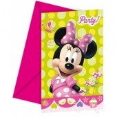 6 Convites Minnie Disney Bow-Tique