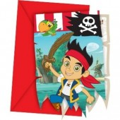 6 Convites Recortados Festa Pirata Jake