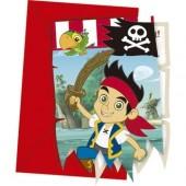 6 Convites Recortados Pirata Jake