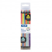 6 Lápis Milan 2 em 1 - Cores Fluorescentes + Cores Metálicas