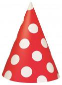 8 Chapéus Festa Bolinhas Vermelhas