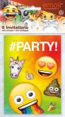 8 Convites Festa Emoji Rainbow Fun