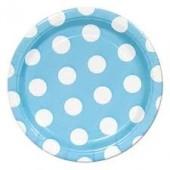 8 Pratos Azul Bolinhas 17cm
