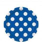 8 Pratos Azul royal Bolinhas 17cm