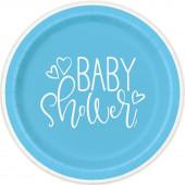 8 Pratos Baby Shower Azul 17cm