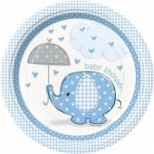 8 Pratos Baby Shower Azul redondos 17 cm