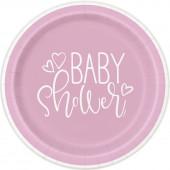 8 Pratos Baby Shower Rosa 17cm
