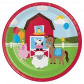 8 Pratos Festa Animais da Quinta Farmhouse Fun 17cm