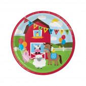 8 Pratos Festa Animais da Quinta Farmhouse Fun 22cm