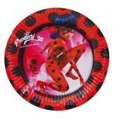 8 Pratos Festa Ladybug 18cm