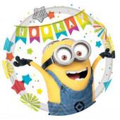 8 Pratos Festa Minions Party Time 23 cm