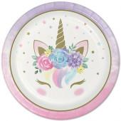 8 Pratos Festa Unicorn Baby 22cm