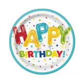8 Pratos Happy Balloon Birthday 22cm