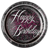8 Pratos Happy Birthday Glitz Preto e Rosa 23cm