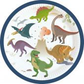 8 Pratos Happy Dinosaur 18cm