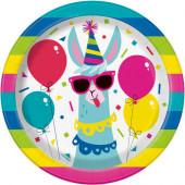 8 Pratos Lama Birthday 17cm