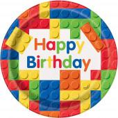 8 Pratos Legos Happy Birthday
