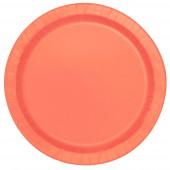 8 Pratos Redondos Laranja 17cm