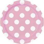 8 Pratos Rosa Bolinhas 17cm