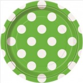 8 Pratos Verdes Bolinhas 17cm