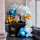 Arco Balões Luxe Azul e Dourado