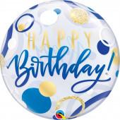 Balão Bubble Happy Birthday Blue & Gold Dots