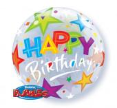 Balão Bubble Happy Birthday Estrelas