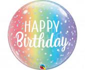 Balão Bubble Happy Birthday Rainbow 56cm