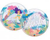 Balão Bubble Happy Birthday Sereias