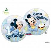 Balão Bubble Mickey Bebé - Happy Birthday - 56cm