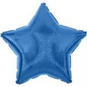 Balão Estrela Azul Glitter Metalizado 45cm
