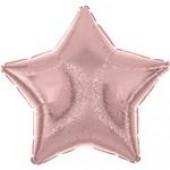 Balão Estrela Metalizado Glitter Rosa Claro 45cm