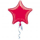 Balão Estrela Metalizado Vermelho 45cm