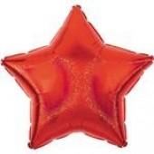 Balão Estrela Metalizado Vermelho Glitter 45cm
