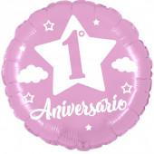 Balão Foil 1ºAniversário Rosa 45cm